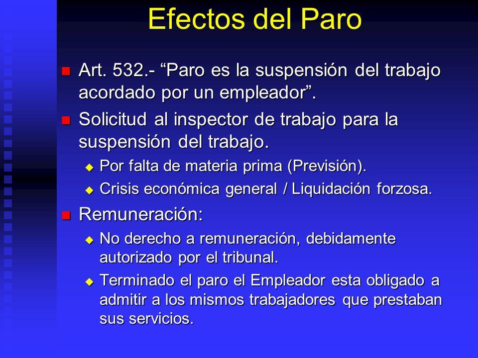 Efectos del Paro Art. 532.- Paro es la suspensión del trabajo acordado por un empleador .