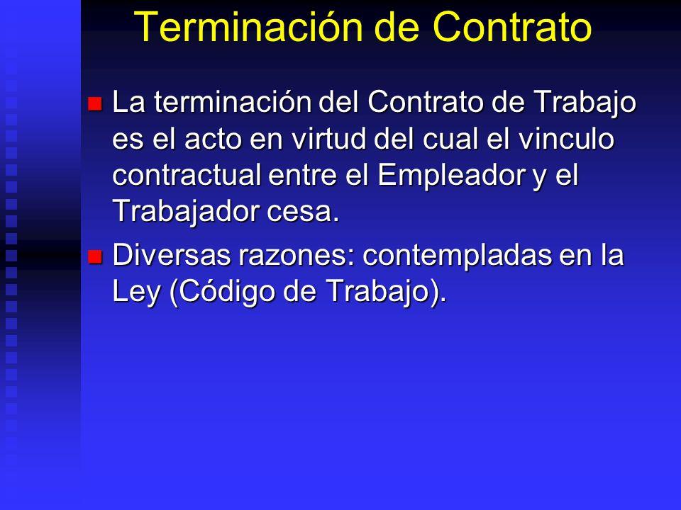 Terminación de Contrato