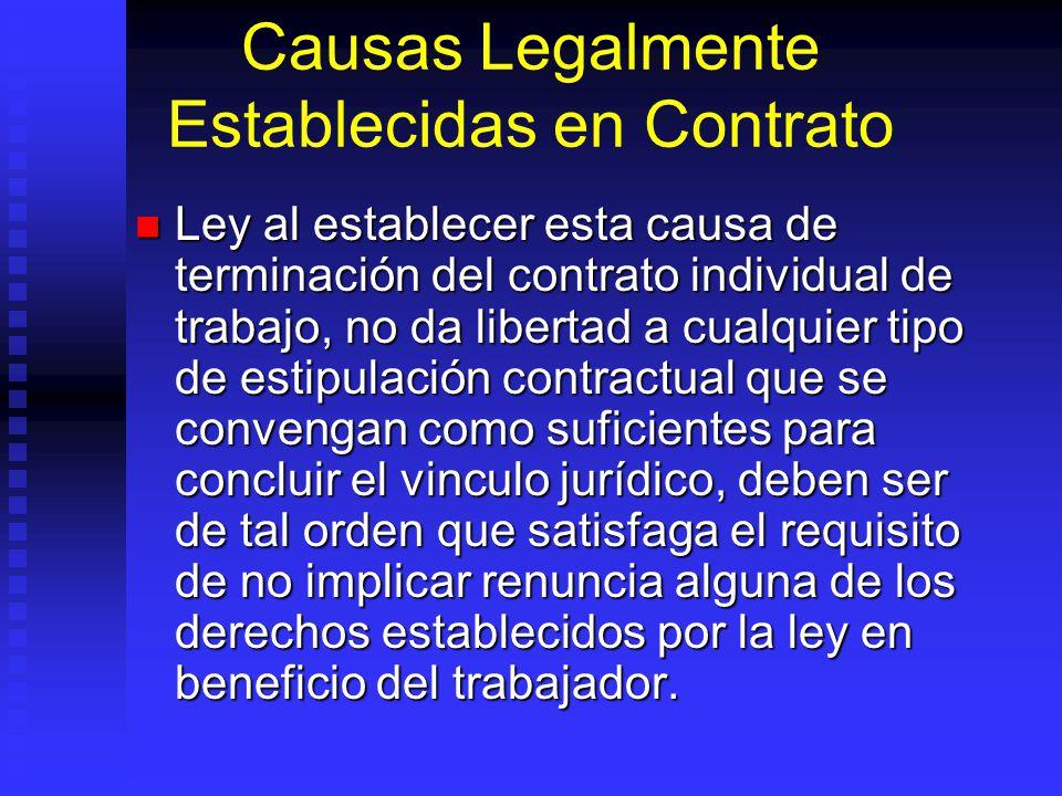 Causas Legalmente Establecidas en Contrato