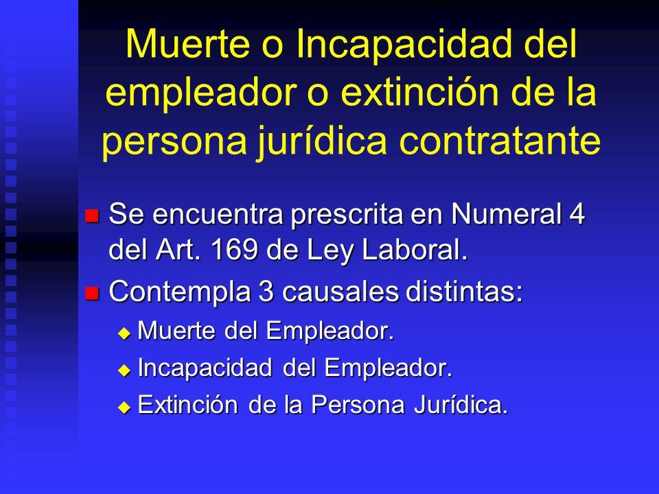 Muerte o Incapacidad del empleador o extinción de la persona jurídica contratante