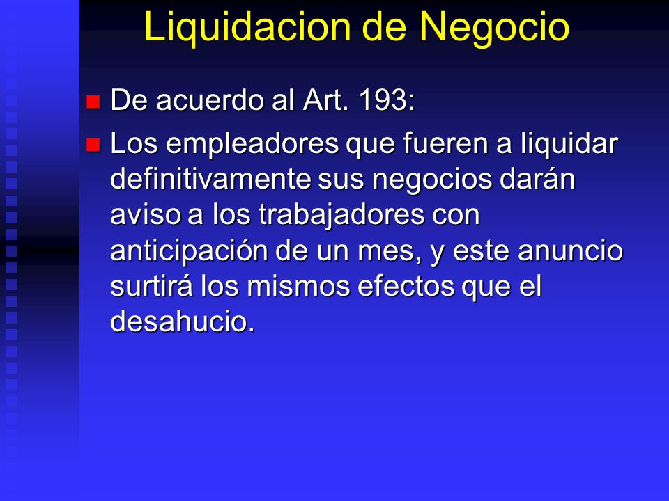 Liquidacion de Negocio