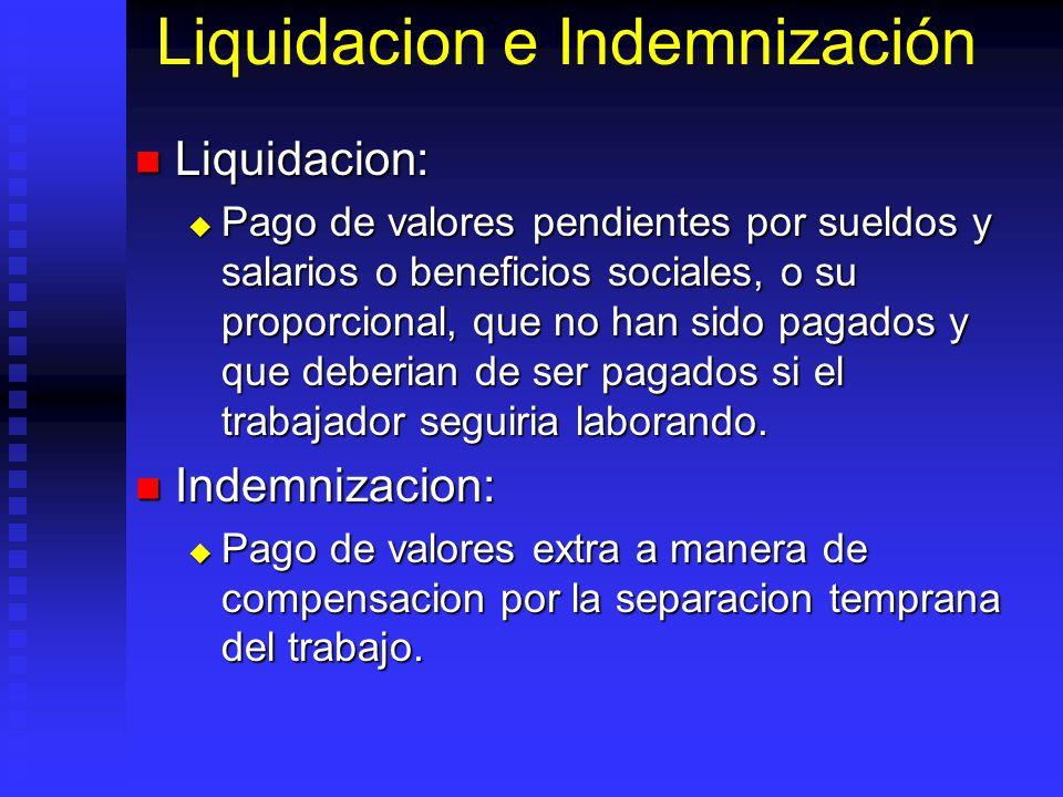 Liquidacion e Indemnización