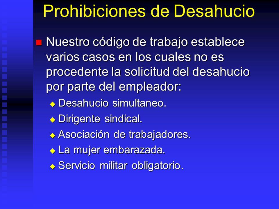 Prohibiciones de Desahucio