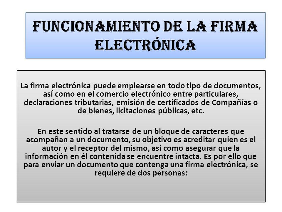 Funcionamiento de la Firma Electrónica
