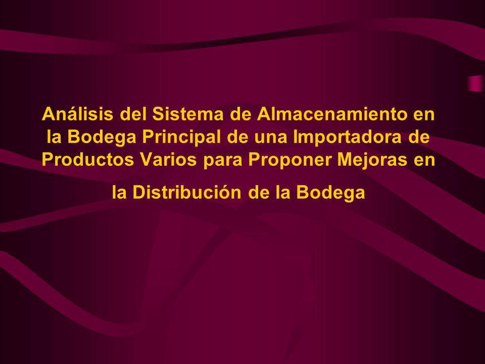Análisis del Sistema de Almacenamiento en la Bodega Principal de una Importadora de Productos Varios para Proponer Mejoras en la Distribución de la Bodega