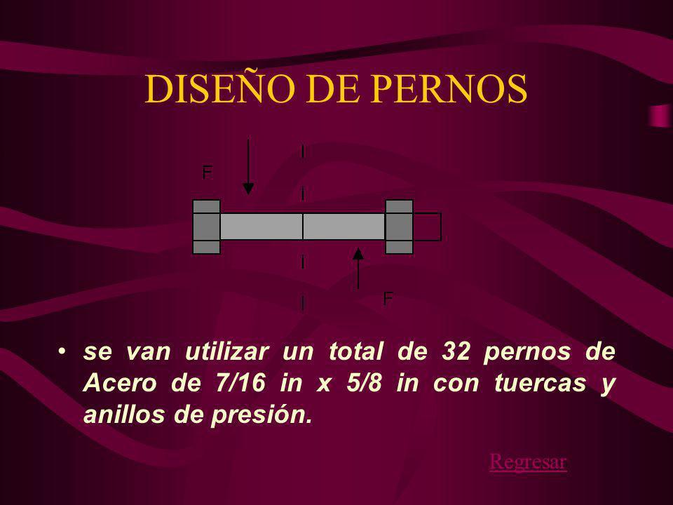 DISEÑO DE PERNOS se van utilizar un total de 32 pernos de Acero de 7/16 in x 5/8 in con tuercas y anillos de presión.