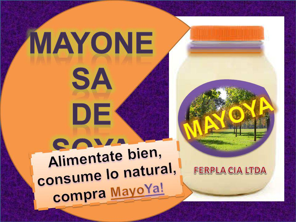 Mayonesa De soya MAYOYA Alimentate bien, consume lo natural,
