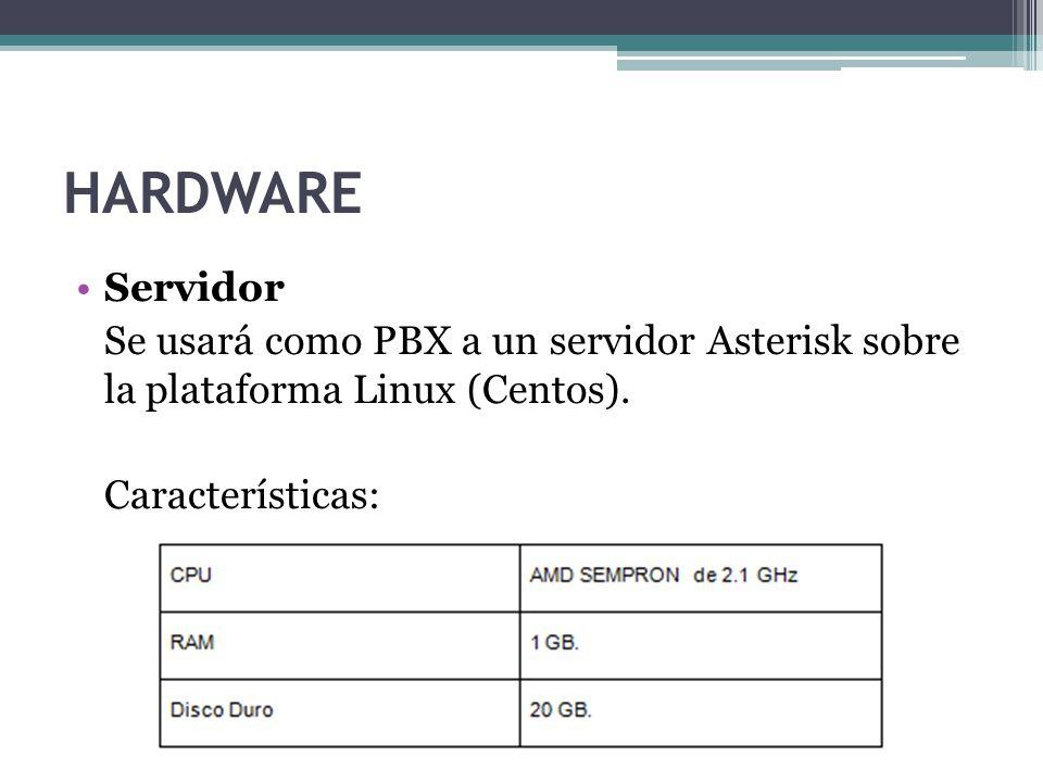 HARDWARE Servidor. Se usará como PBX a un servidor Asterisk sobre la plataforma Linux (Centos).