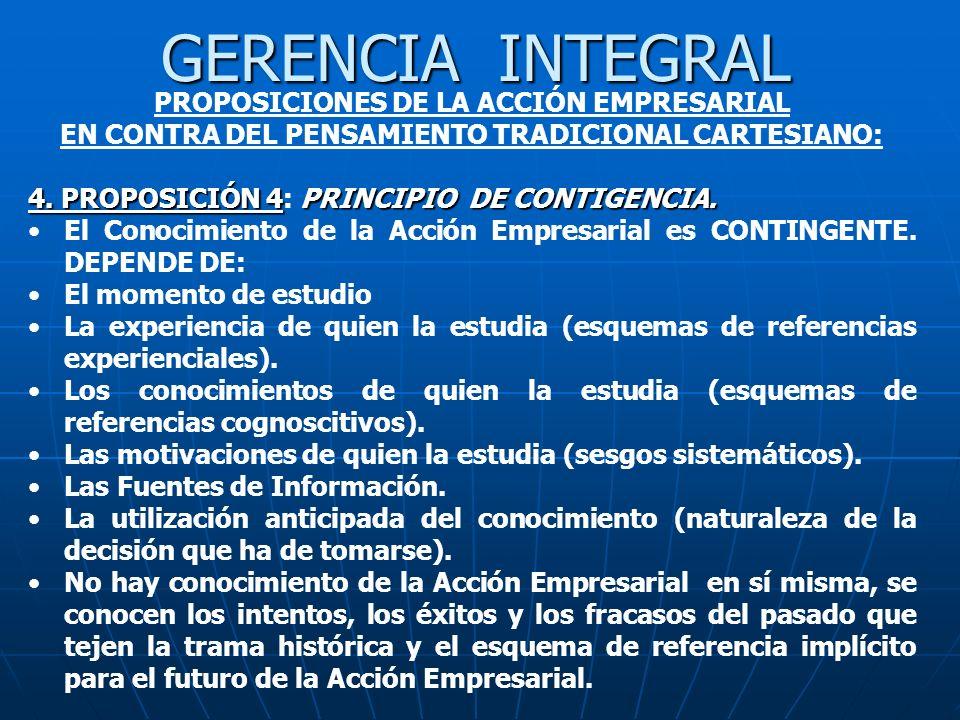 GERENCIA INTEGRAL PROPOSICIONES DE LA ACCIÓN EMPRESARIAL