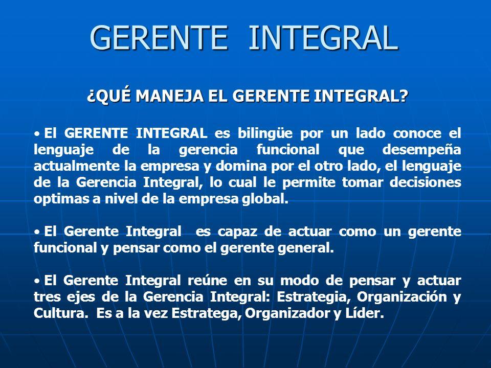 ¿QUÉ MANEJA EL GERENTE INTEGRAL