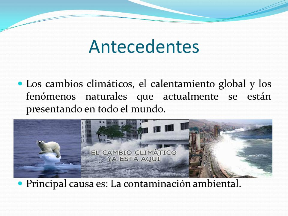 Antecedentes Los cambios climáticos, el calentamiento global y los fenómenos naturales que actualmente se están presentando en todo el mundo.