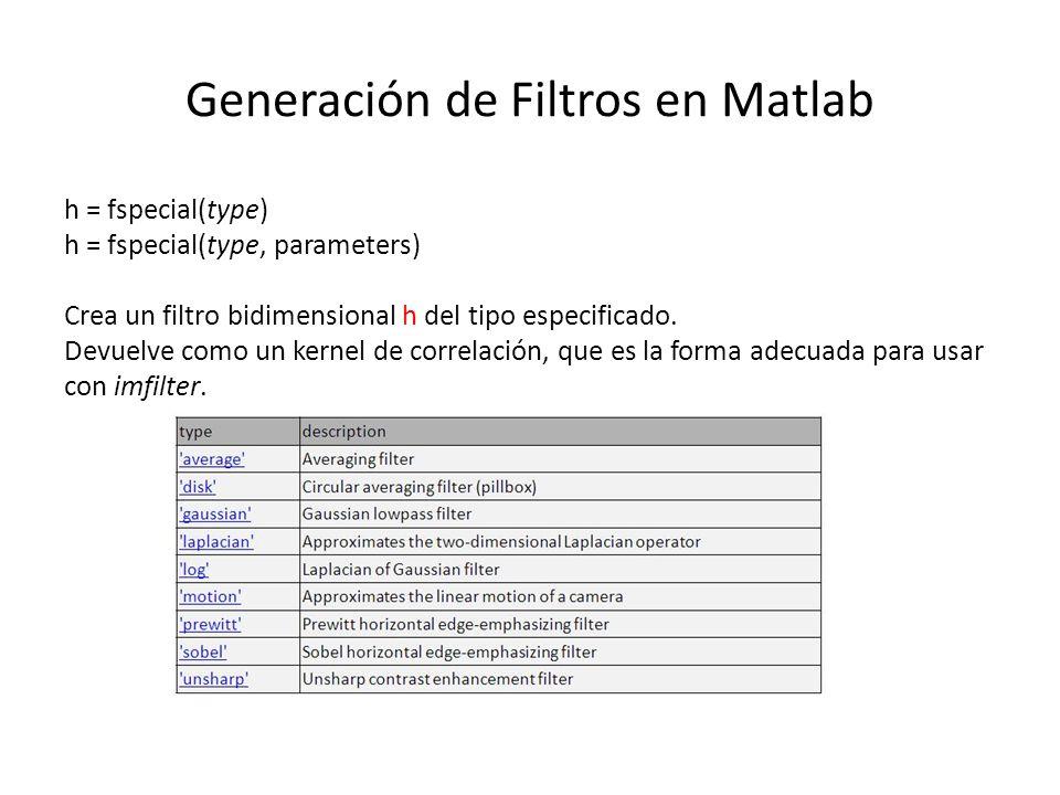 Generación de Filtros en Matlab