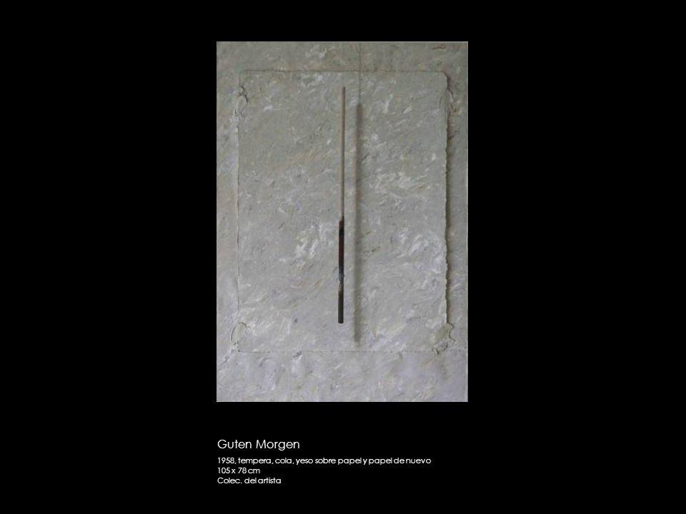 Guten Morgen 1958, tempera, cola, yeso sobre papel y papel de nuevo