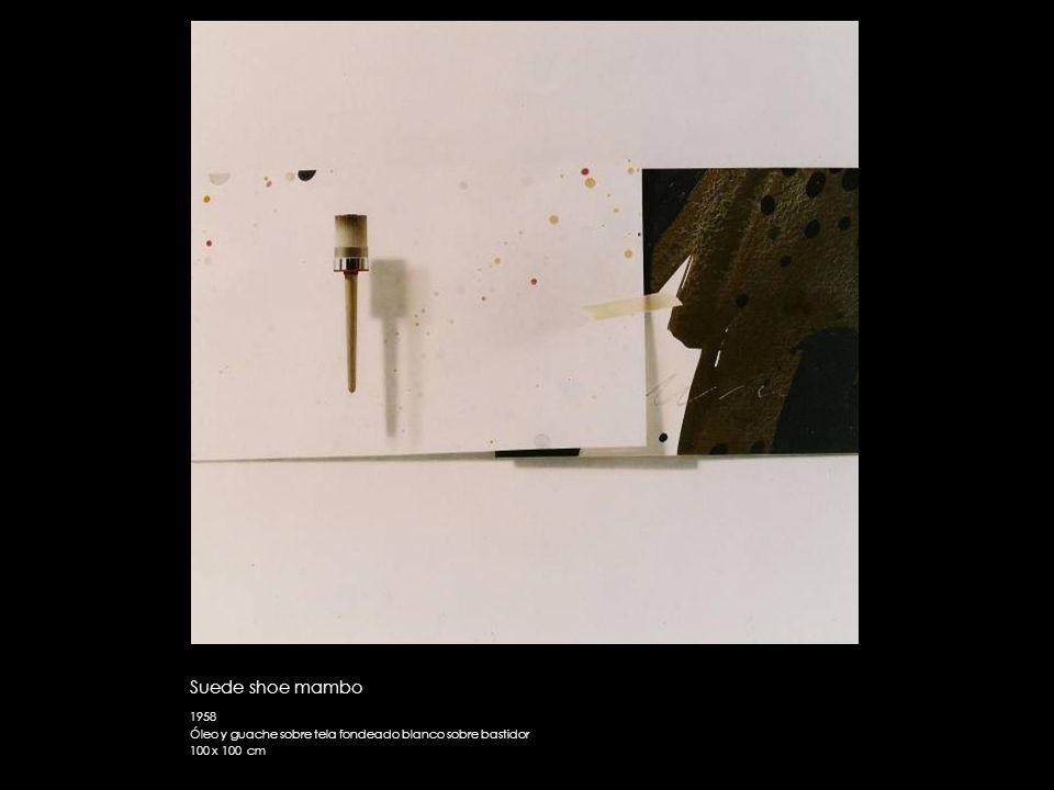 Suede shoe mambo 1958 Óleo y guache sobre tela fondeado blanco sobre bastidor 100 x 100 cm