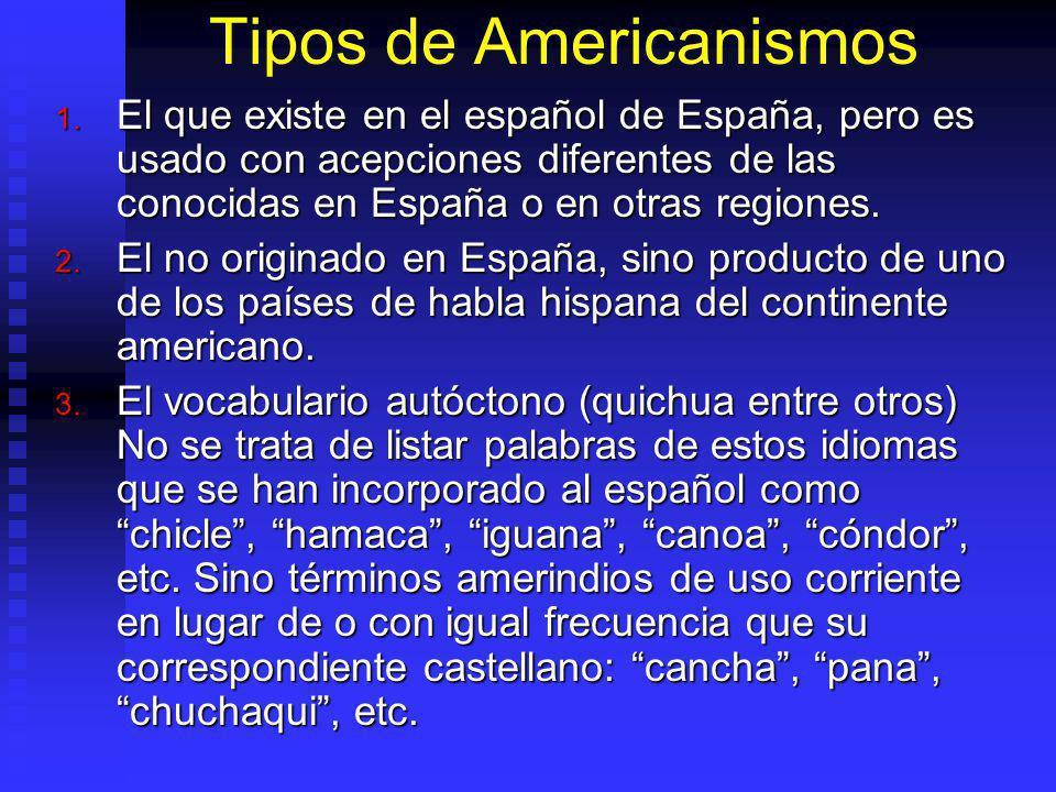 Tipos de Americanismos