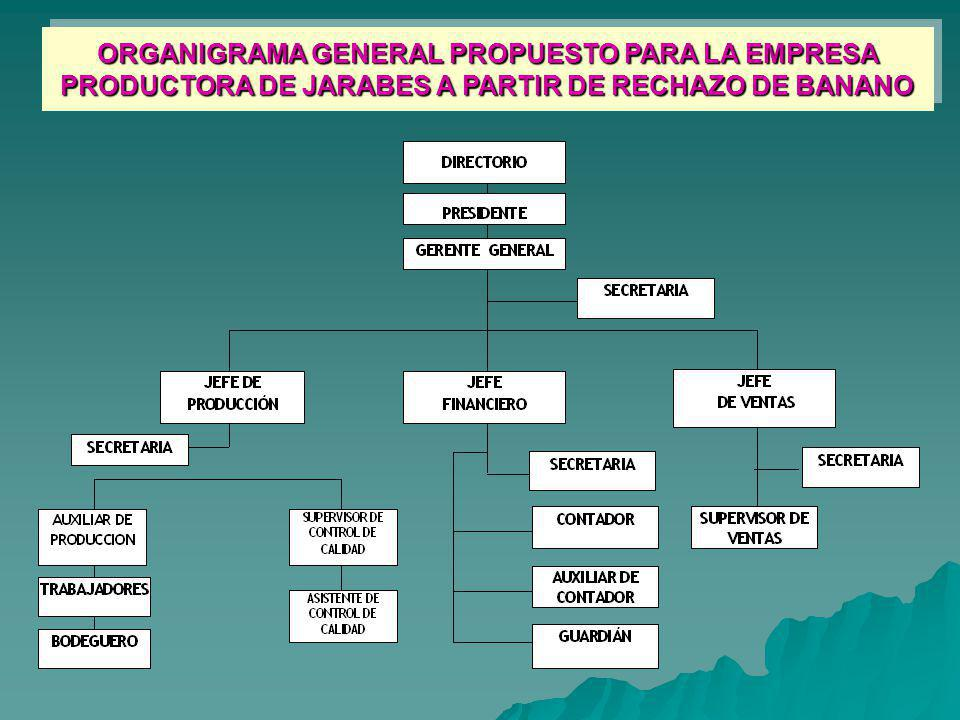 ORGANIGRAMA GENERAL PROPUESTO PARA LA EMPRESA PRODUCTORA DE JARABES A PARTIR DE RECHAZO DE BANANO