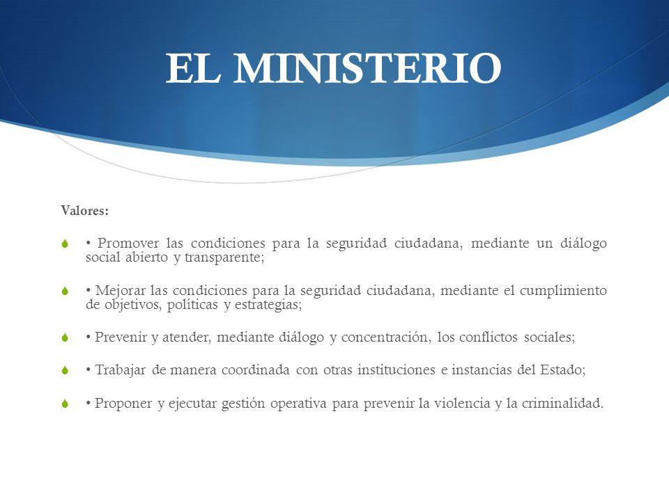 EL MINISTERIO Valores: • Promover las condiciones para la seguridad ciudadana, mediante un diálogo social abierto y transparente;