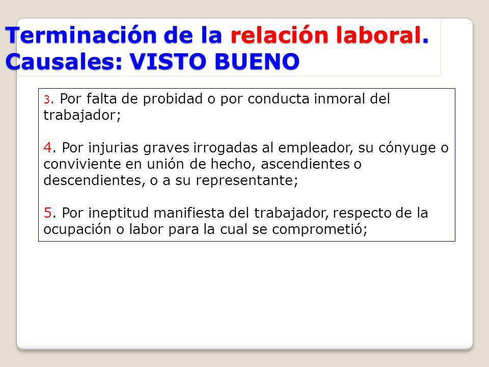 Terminación de la relación laboral. Causales: VISTO BUENO