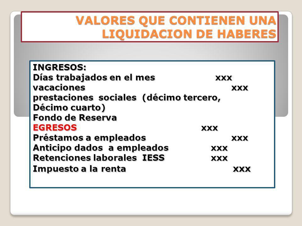 VALORES QUE CONTIENEN UNA LIQUIDACION DE HABERES