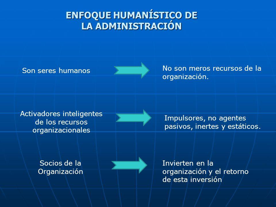 ENFOQUE HUMANÍSTICO DE LA ADMINISTRACIÓN