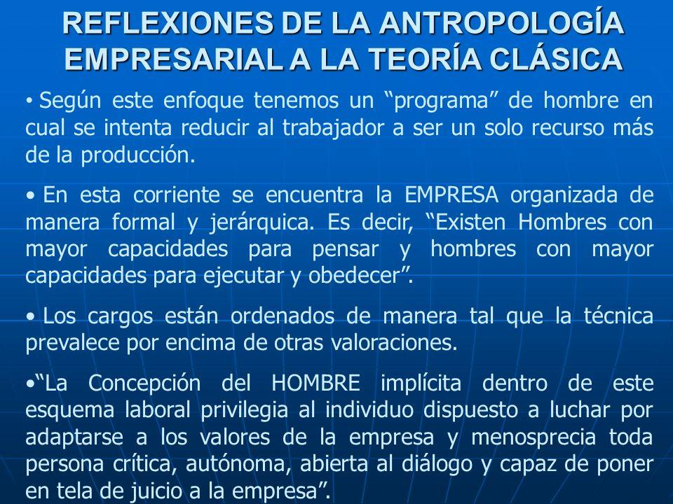 REFLEXIONES DE LA ANTROPOLOGÍA EMPRESARIAL A LA TEORÍA CLÁSICA