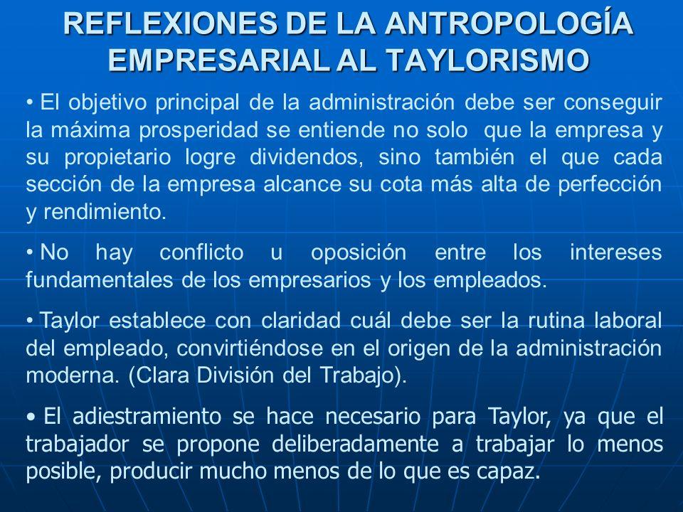 REFLEXIONES DE LA ANTROPOLOGÍA EMPRESARIAL AL TAYLORISMO
