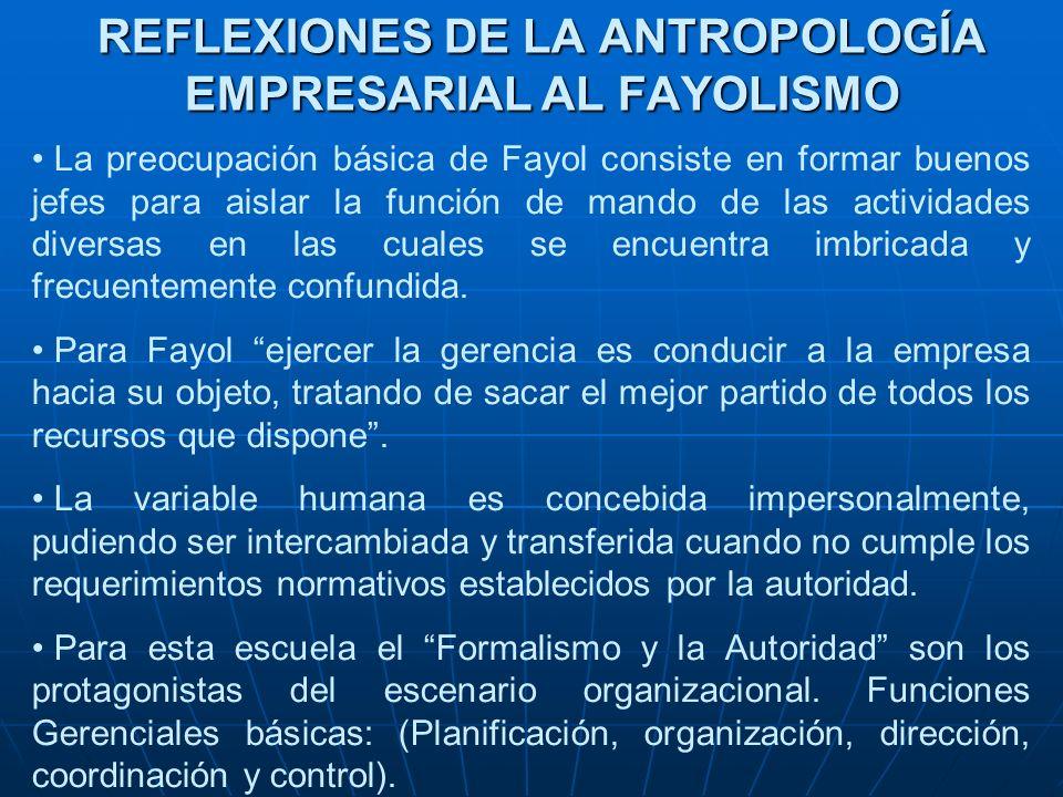 REFLEXIONES DE LA ANTROPOLOGÍA EMPRESARIAL AL FAYOLISMO