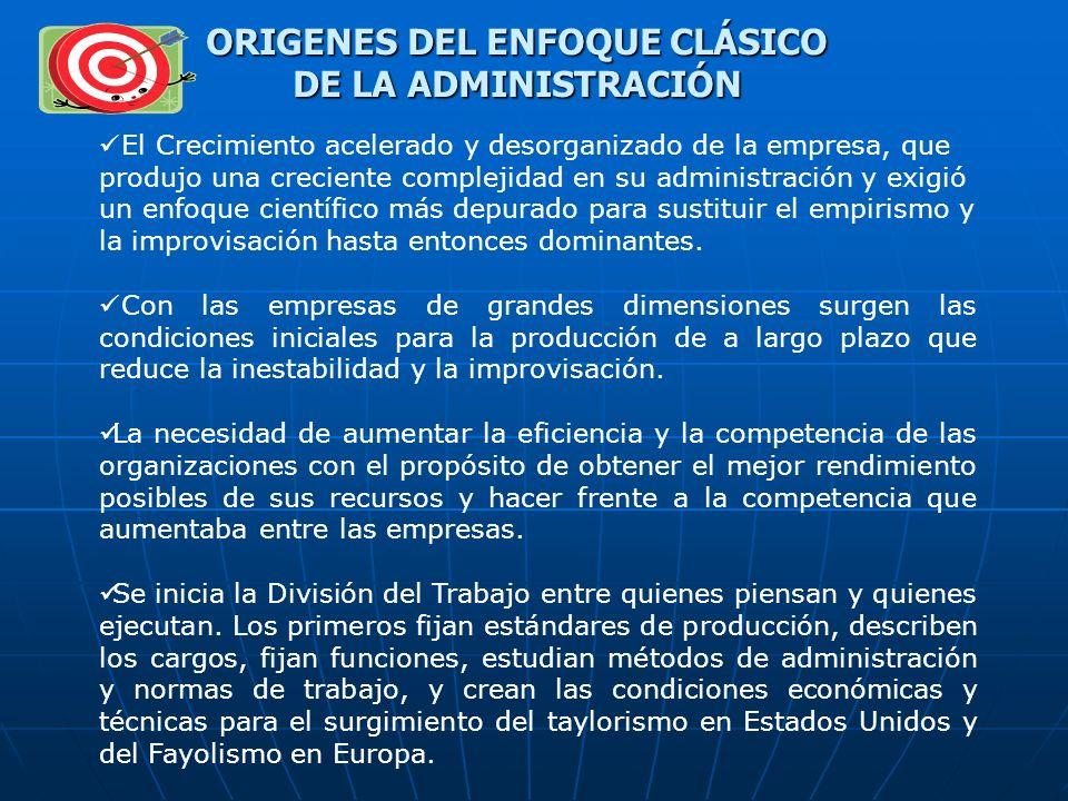 ORIGENES DEL ENFOQUE CLÁSICO