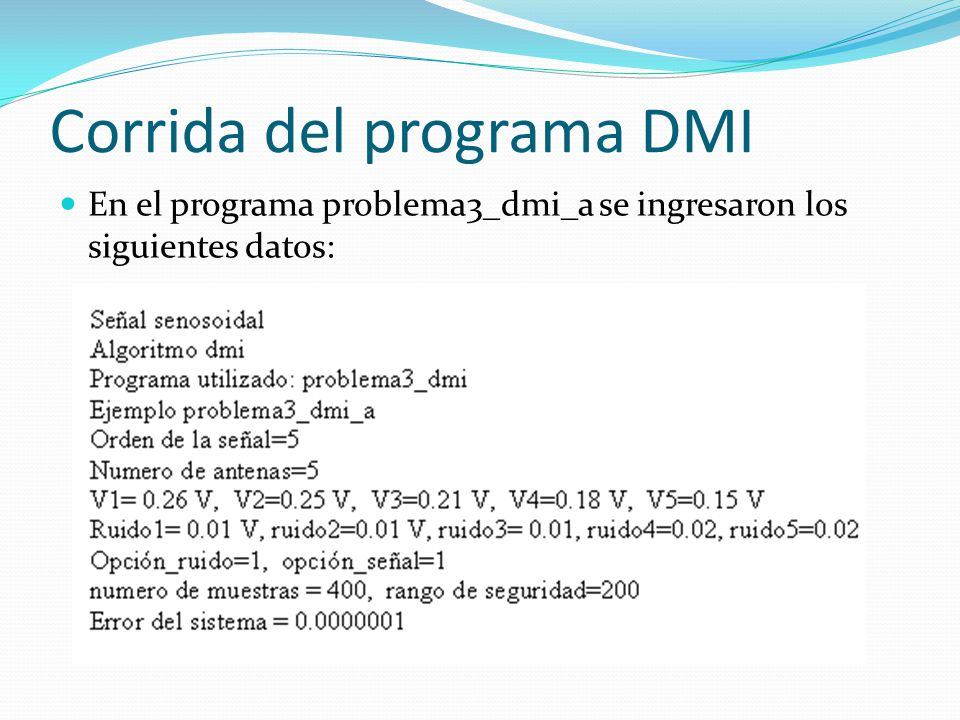 Corrida del programa DMI
