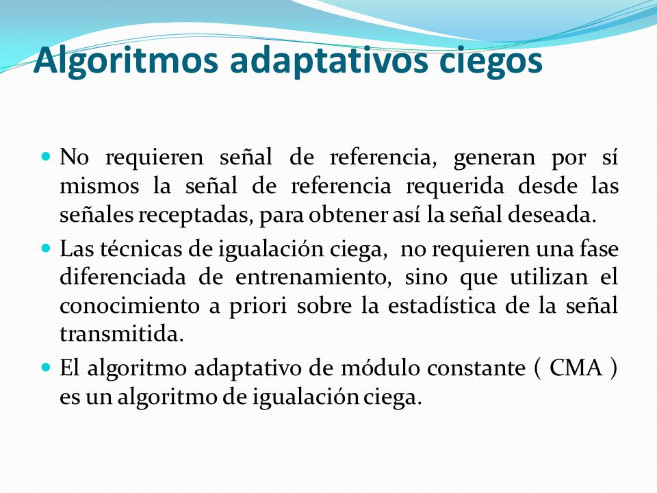 Algoritmos adaptativos ciegos