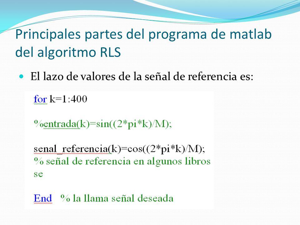 Principales partes del programa de matlab del algoritmo RLS