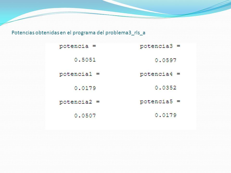 Potencias obtenidas en el programa del problema3_rls_a