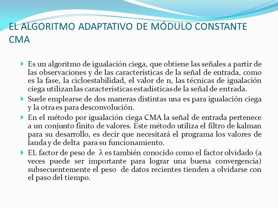 EL ALGORITMO ADAPTATIVO DE MÓDULO CONSTANTE CMA
