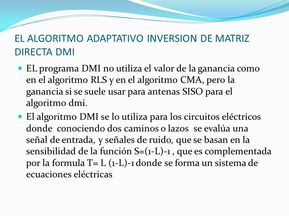 EL ALGORITMO ADAPTATIVO INVERSION DE MATRIZ DIRECTA DMI