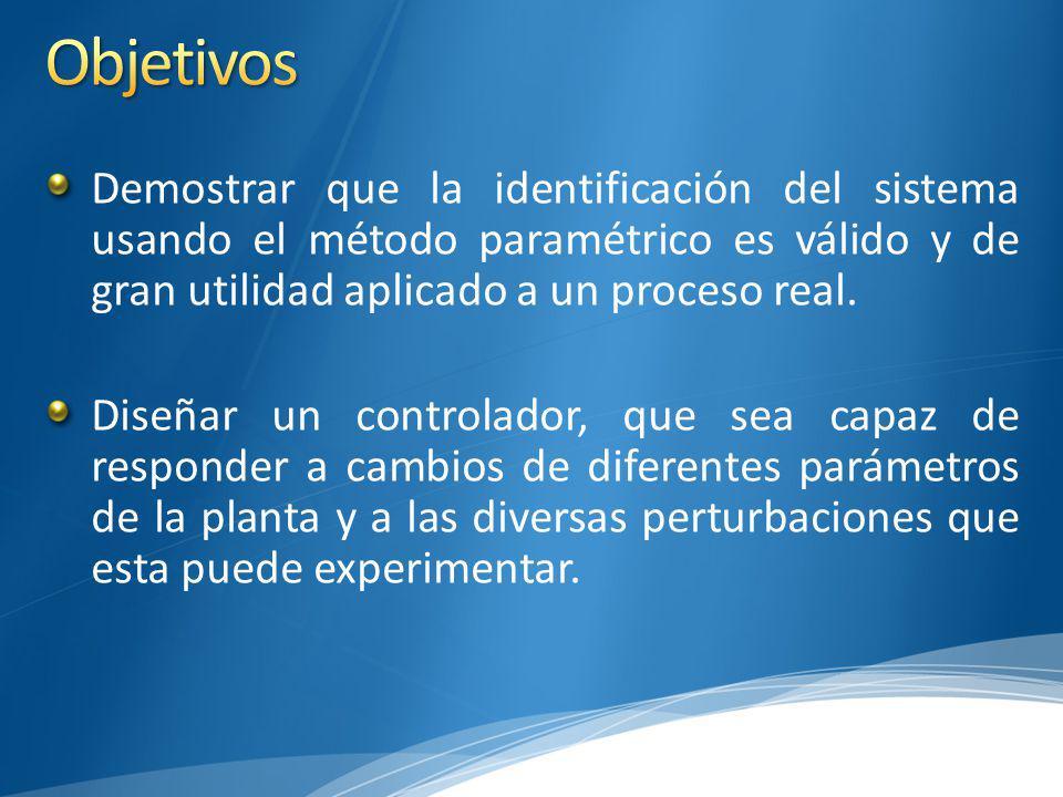 Objetivos Demostrar que la identificación del sistema usando el método paramétrico es válido y de gran utilidad aplicado a un proceso real.