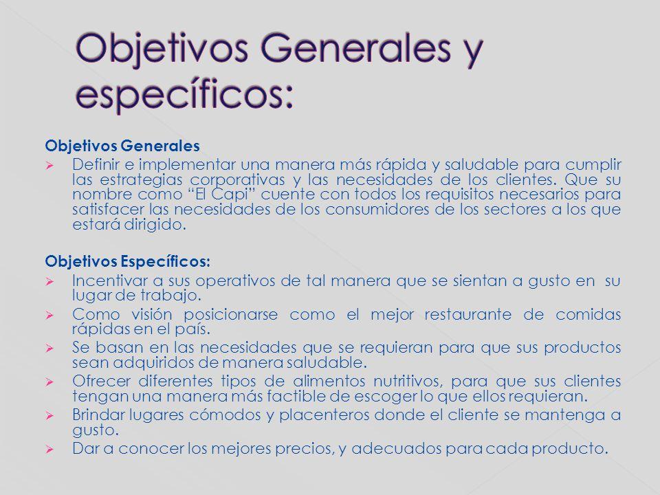 Objetivos Generales y específicos: