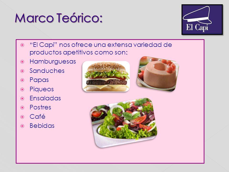 Marco Teórico: El Capi nos ofrece una extensa variedad de productos apetitivos como son: Hamburguesas.