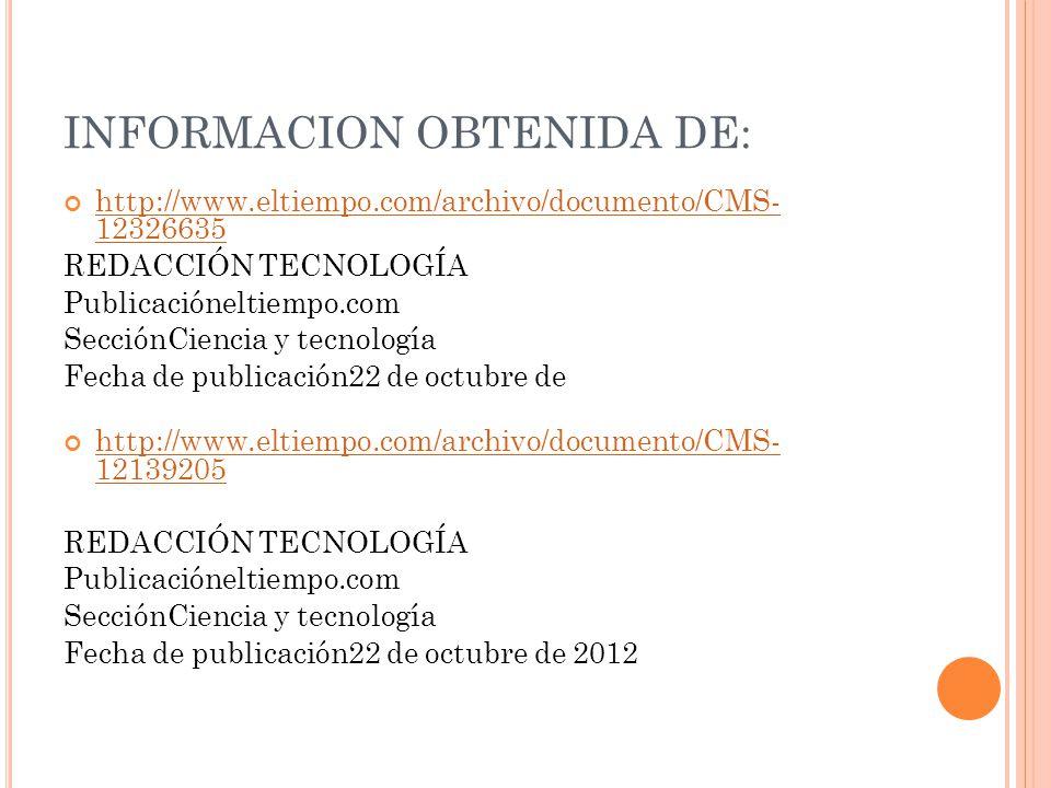 INFORMACION OBTENIDA DE: