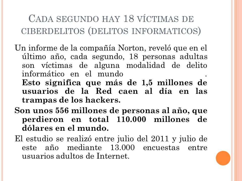 Cada segundo hay 18 víctimas de ciberdelitos (delitos informaticos)