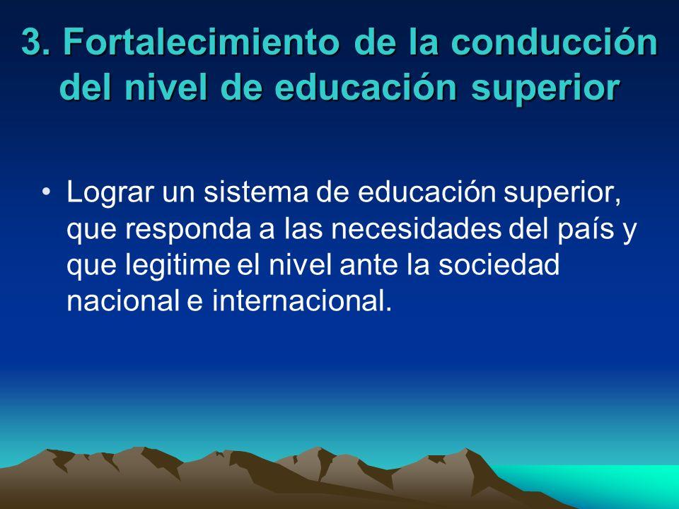 3. Fortalecimiento de la conducción del nivel de educación superior