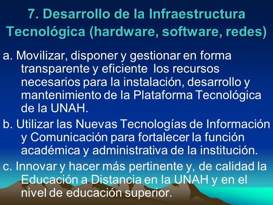 7. Desarrollo de la Infraestructura Tecnológica (hardware, software, redes)