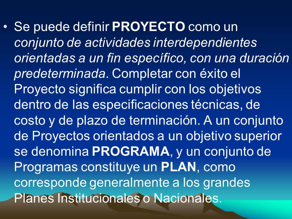 Se puede definir PROYECTO como un conjunto de actividades interdependientes orientadas a un fin específico, con una duración predeterminada.