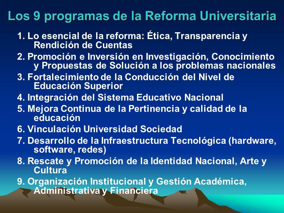 Los 9 programas de la Reforma Universitaria