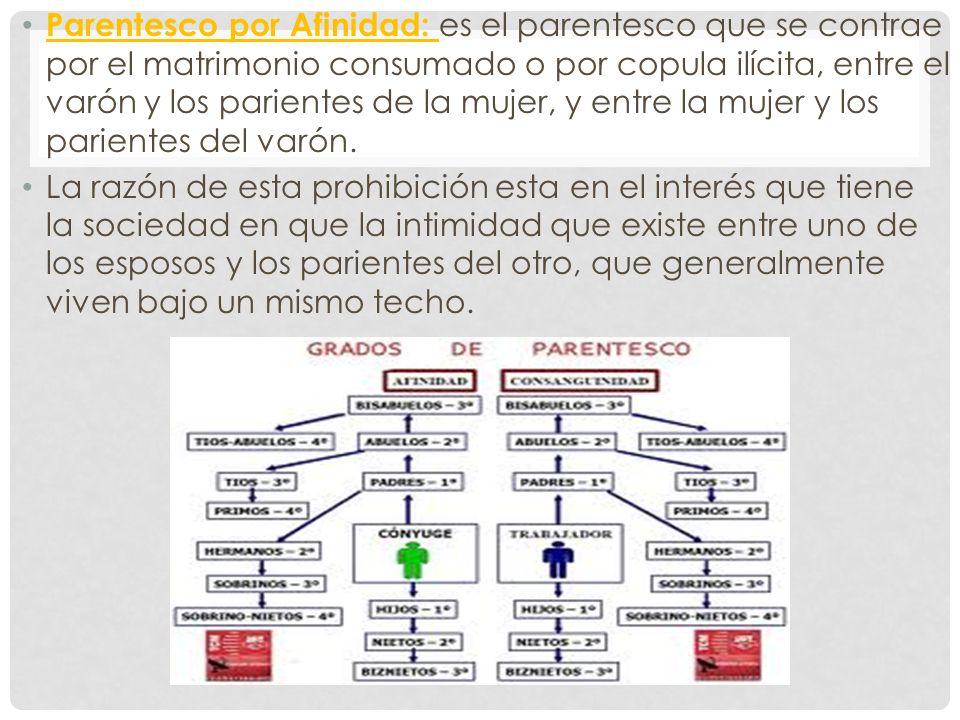 Parentesco por Afinidad: es el parentesco que se contrae por el matrimonio consumado o por copula ilícita, entre el varón y los parientes de la mujer, y entre la mujer y los parientes del varón.
