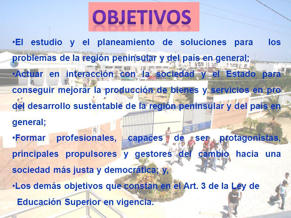 Objetivos El estudio y el planeamiento de soluciones para los problemas de la región peninsular y del país en general;