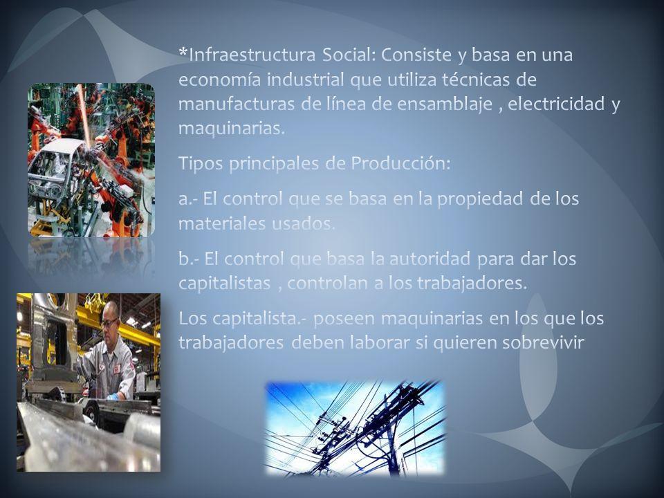 *Infraestructura Social: Consiste y basa en una economía industrial que utiliza técnicas de manufacturas de línea de ensamblaje , electricidad y maquinarias.