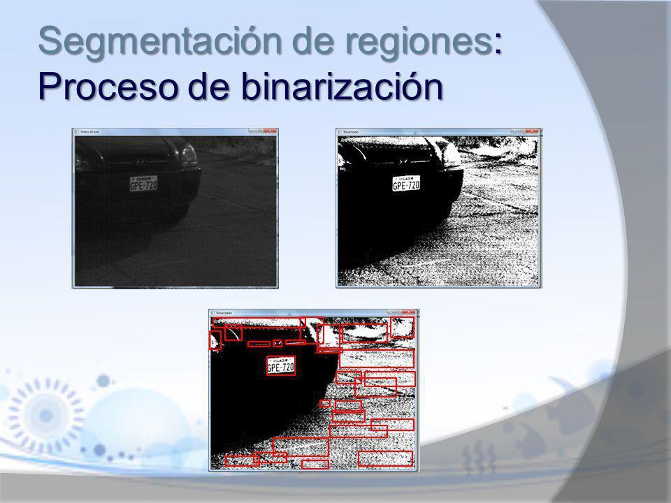 Segmentación de regiones: Proceso de binarización