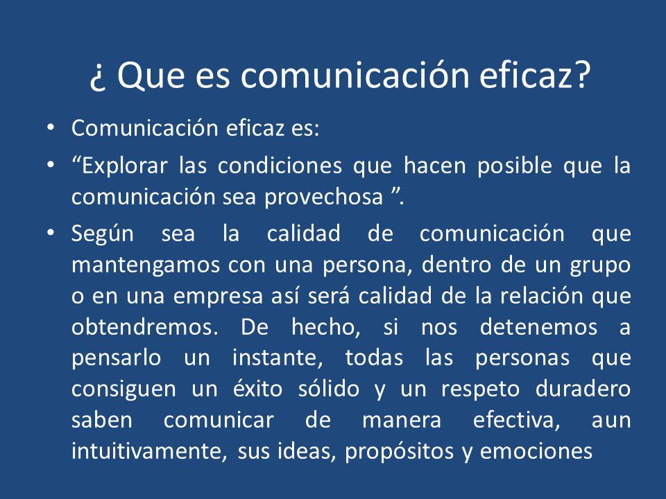 ¿ Que es comunicación eficaz