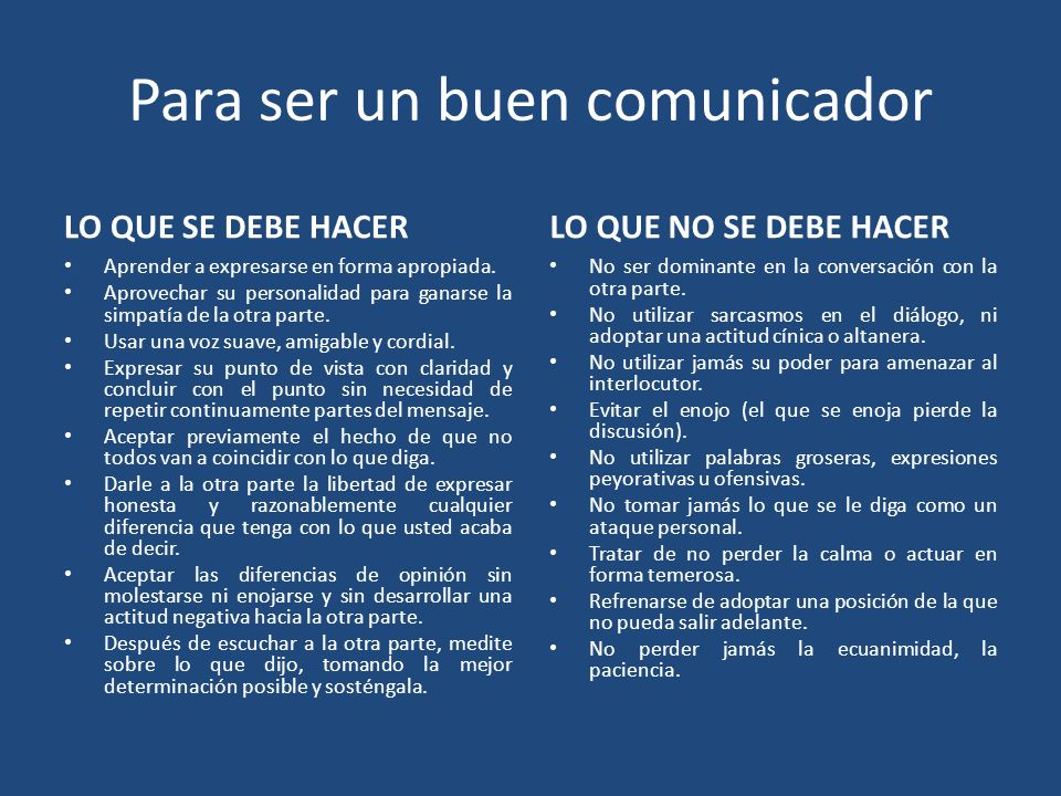 Para ser un buen comunicador