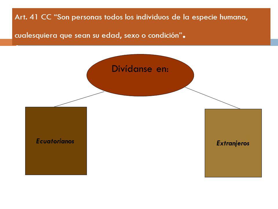 Art. 41 CC Son personas todos los individuos de la especie humana, cualesquiera que sean su edad, sexo o condición .